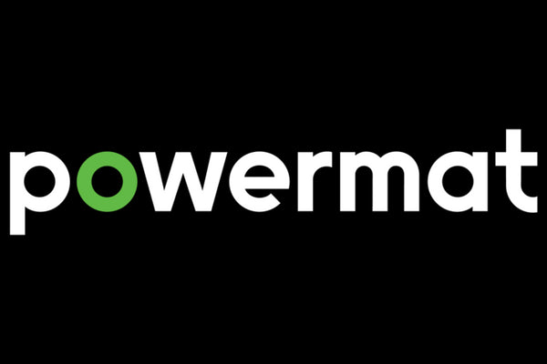 The Powermat logo on a black background