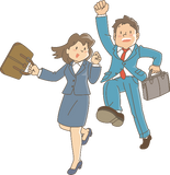 Two business people jumping for joy