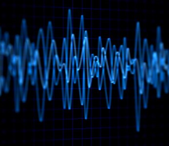 A blue radio frequency wave