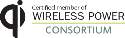"Qi logo and Wireless Power Consortium Logo with ""certified member of"" above WPC logo"