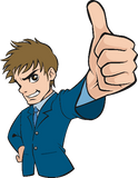 Man in blue suit giving thumbs up