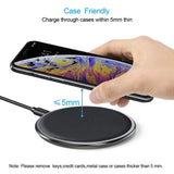 CHOETECH Zinc Alloy Ultra-Slim Fast Wireless Charger Black case friendly