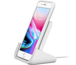 Logitech Powered Wireless Charging Stand angle view with iPhone
