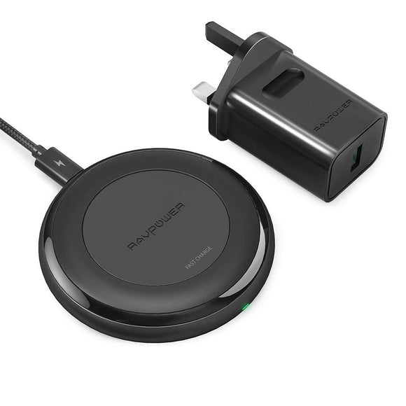 RAVPower HyperAir 7.5W Wireless Charging Puck with 24W QC 3.0 Wall Plug