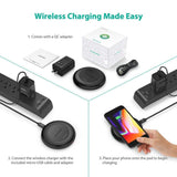 RAVPower HyperAir 7.5W Wireless Charging Puck comes with a QC adapter