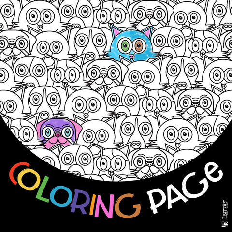 FREE Cats & Dogs Coloring Pages
