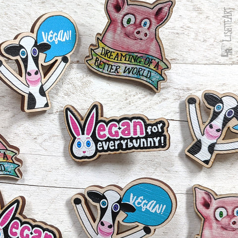 New Vegan Message Cow & Bunny Wood Pins Available Online