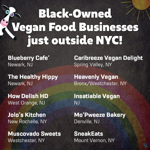 Graphic of list of Black-Owned Vegan Food Businesses just outside NYC
