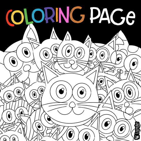 Preview of Purrrballs cat coloring page
