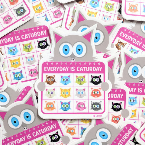 Group of Everyday is Caturday vinyl stickers