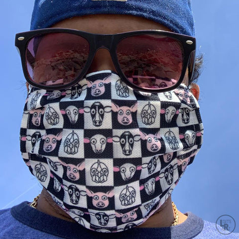 Man wearing checker mask