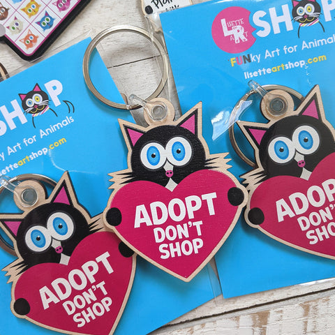 Adopt Don't Shop Cat Keychain