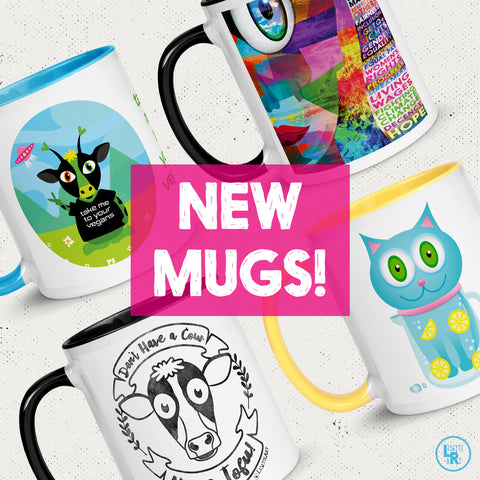 4 new mug designs with color inside and handle on light background