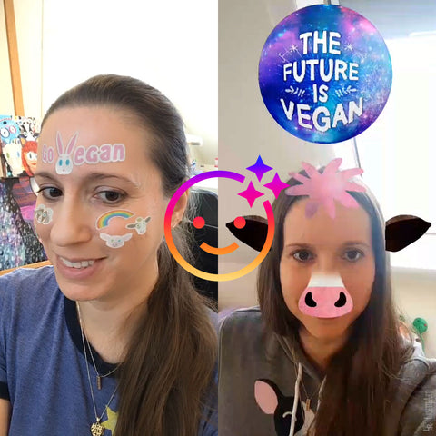 Snapshot preview using the Vegan Stickers and The Future is Vegan Instagram Effects in video or photo