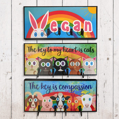 Vegan and cat themed art key holders