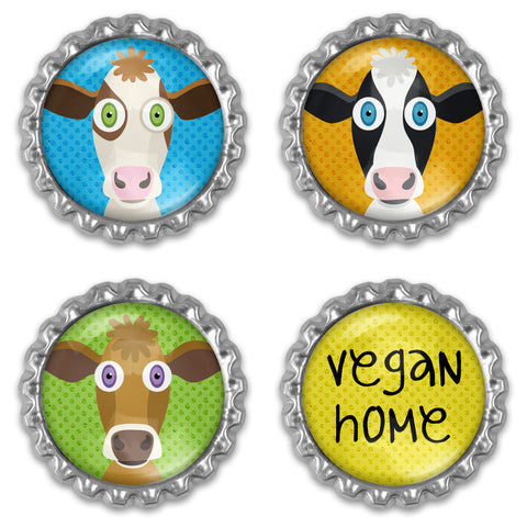 Set of cute cows vegan home magnets