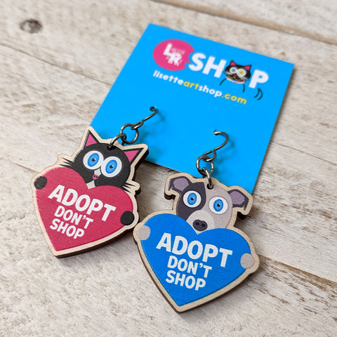 Adopt Don't Shop cat and dog wood charm earrings