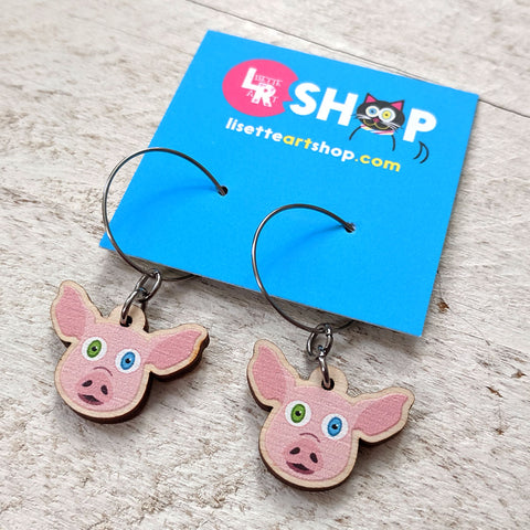 Cute pig wood charm earrings