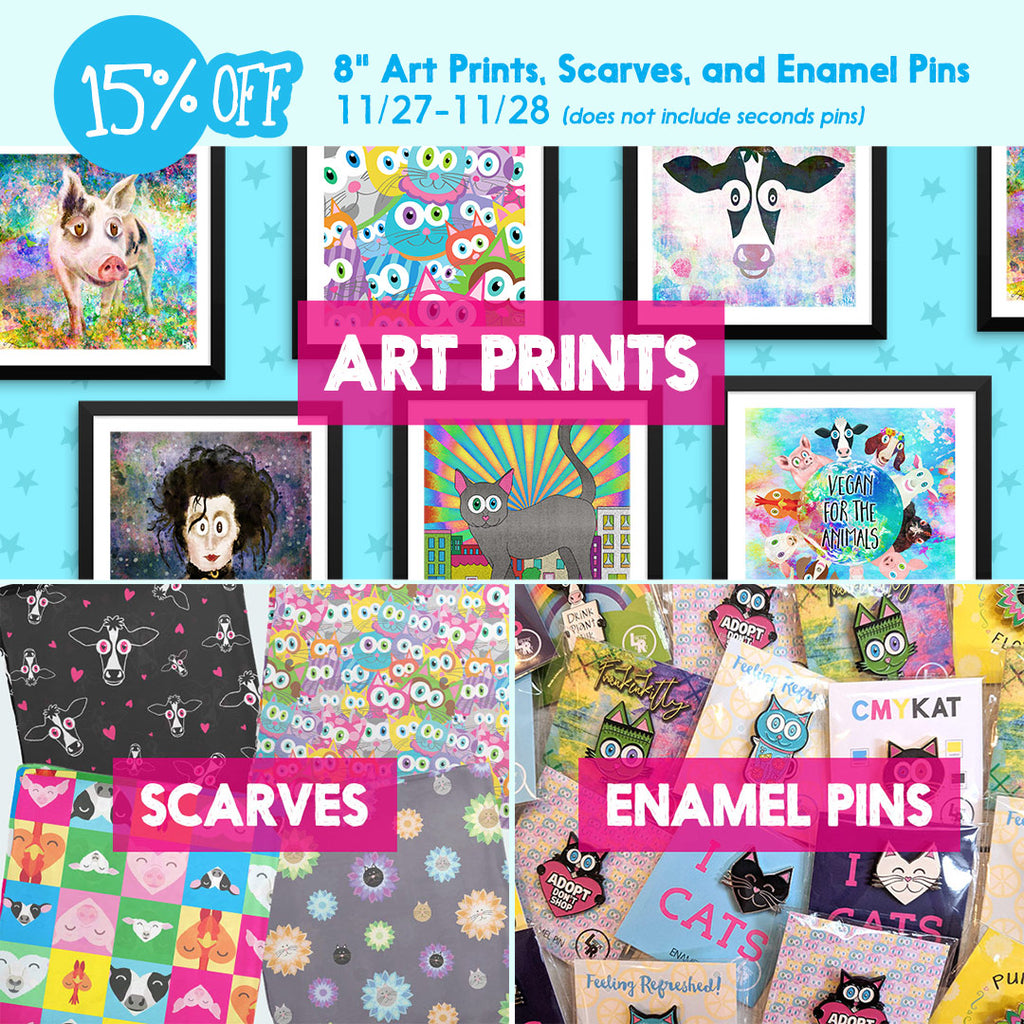 Art prints, scarves and enamel pins