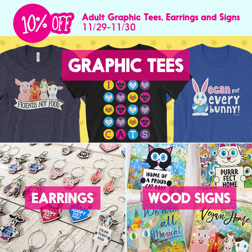 10% off graphic tees, earrings and wood block signs