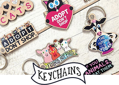 Cat, Animal and Vegan Themed Wood and Acrylic Keychains