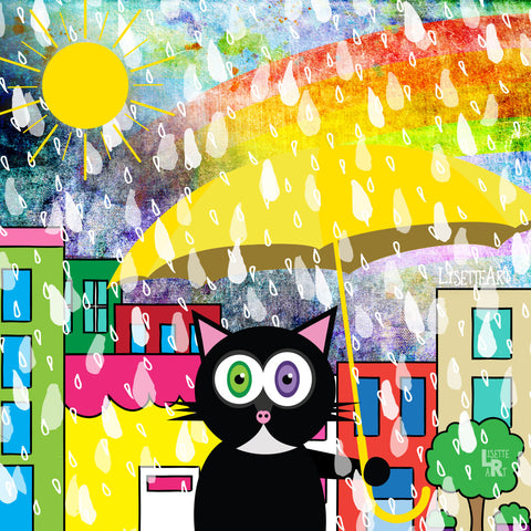 Illustration of cat holding yellow umbrella in the rain with rainbow and sun peeking through, buildings in background
