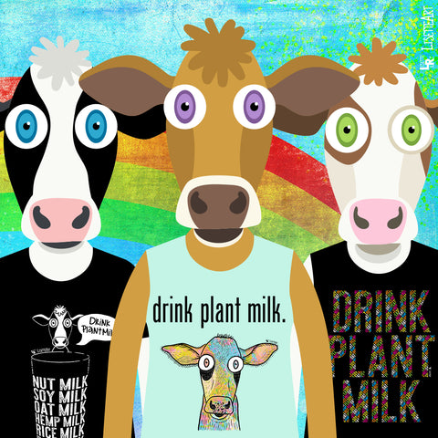 3 Illustrated cow wearing new drink plant milk shirt designs