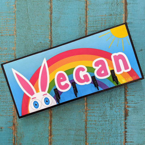 Vegan bunny art key holder