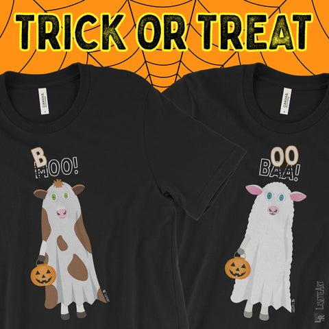 Trick or Treat Cow and Sheep Ghost Black Tees