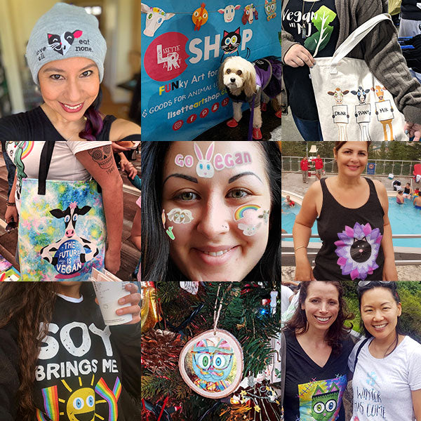 Photo grid of various customers showcasing and wearing different products