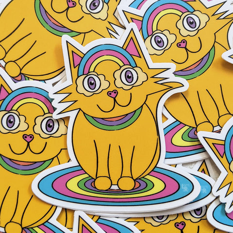 Bunch of Rainbow glasses kitty vinyl stickers