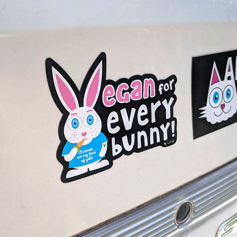 Vegan for everybunny! magnet on car
