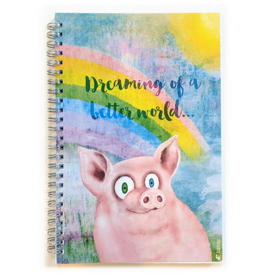 """Happy Pig"" Spiral Notebook Vegan Journal"