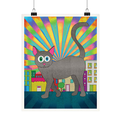 """Giant Kitty in a City"" Whimsical Cat Fine Art Print"