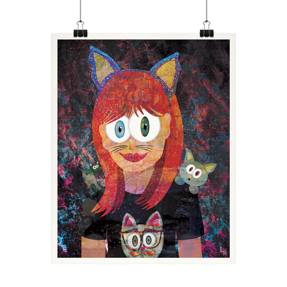 """Cat Girl"" Whimsical Fine Art Print"