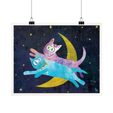 """Cat Lovers Over the Moon"" Whimsical Fine Art Print"