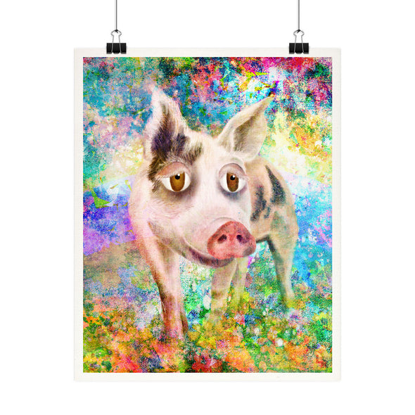 """Jeremiah"" Indraloka Animal Sanctuary - Whimsical Pig Fine Art Print"