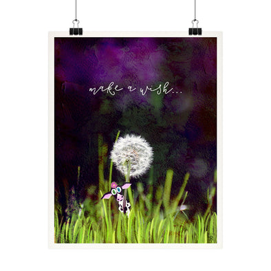"""Make a wish"" - Cow with Dandelion Fine Art Print"
