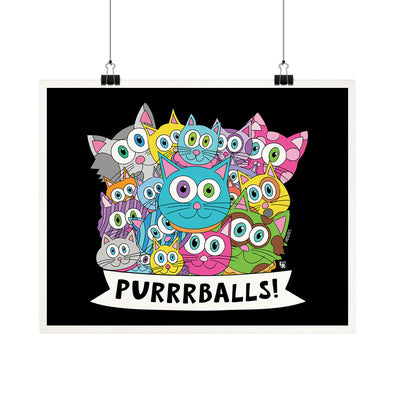 """Purrrballs!"" Whimsical Kitty Cat Fine Art Print"