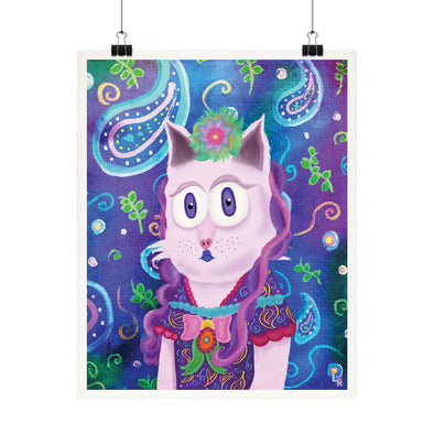 """Fancy Lady Kitty"" Whimsical Purple Victorian Cat Fine Art Print"