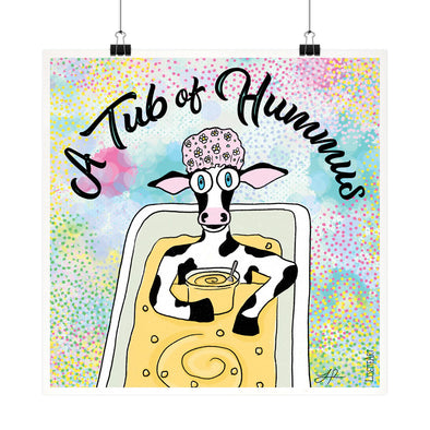 """A Tub of Hummus"" Humorous Vegan Cow Fine Art Print"