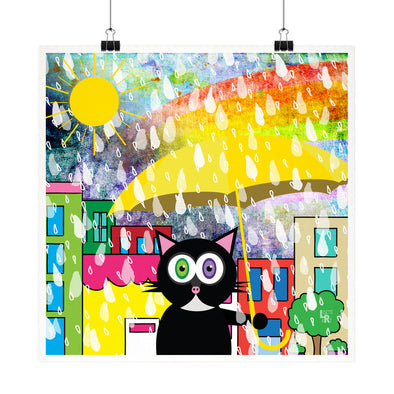 """Cat in Sun Shower"" Whimsical Kitty in Rain Fine Art Print"