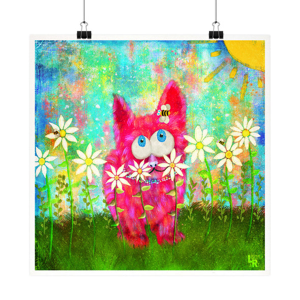 """Pink Fuzzy Kitty and Bee"" - Cat Fine Art Print"