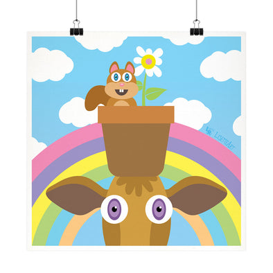 """Roberta and Marla - Flower Pot Hat"" Whimsical Cow and Squirrel Fine Art Print"
