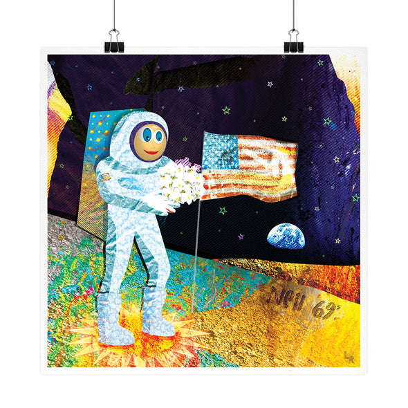 """Walk on the Moon"" Astronaut Space Fine Art Print"