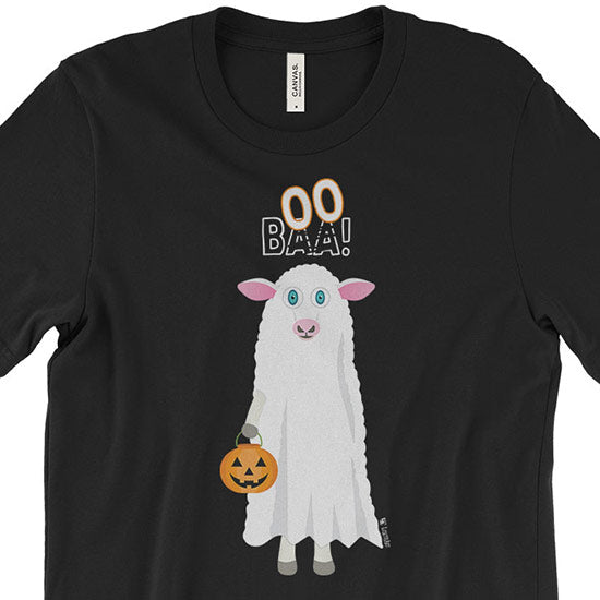 """Trick or Treat"" BAA BOO Sheep in Ghost Costume Halloween Unisex T-Shirt"