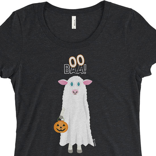 """Trick or Treat"" BAA BOO Sheep in Ghost Costume Halloween Junior Fitted T-Shirt"