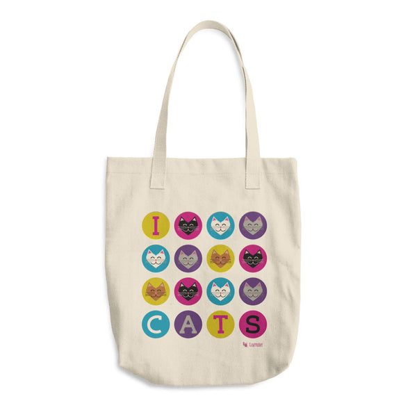 """I 💜 Love 💜 Cats"" Classic Tote Bag"