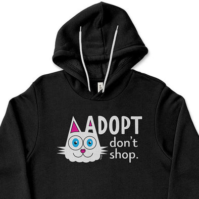 """Adopt, Don't Shop."" (cat ear) Unisex Lightweight Fleece Hoodie Sweatshirt"