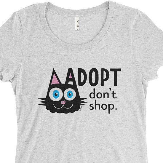 """Adopt, Don't Shop."" (cat ear) Junior Fitted T-Shirt"
